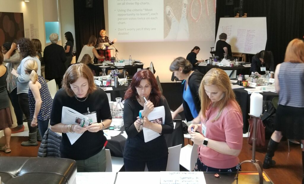 Women looking at paper
